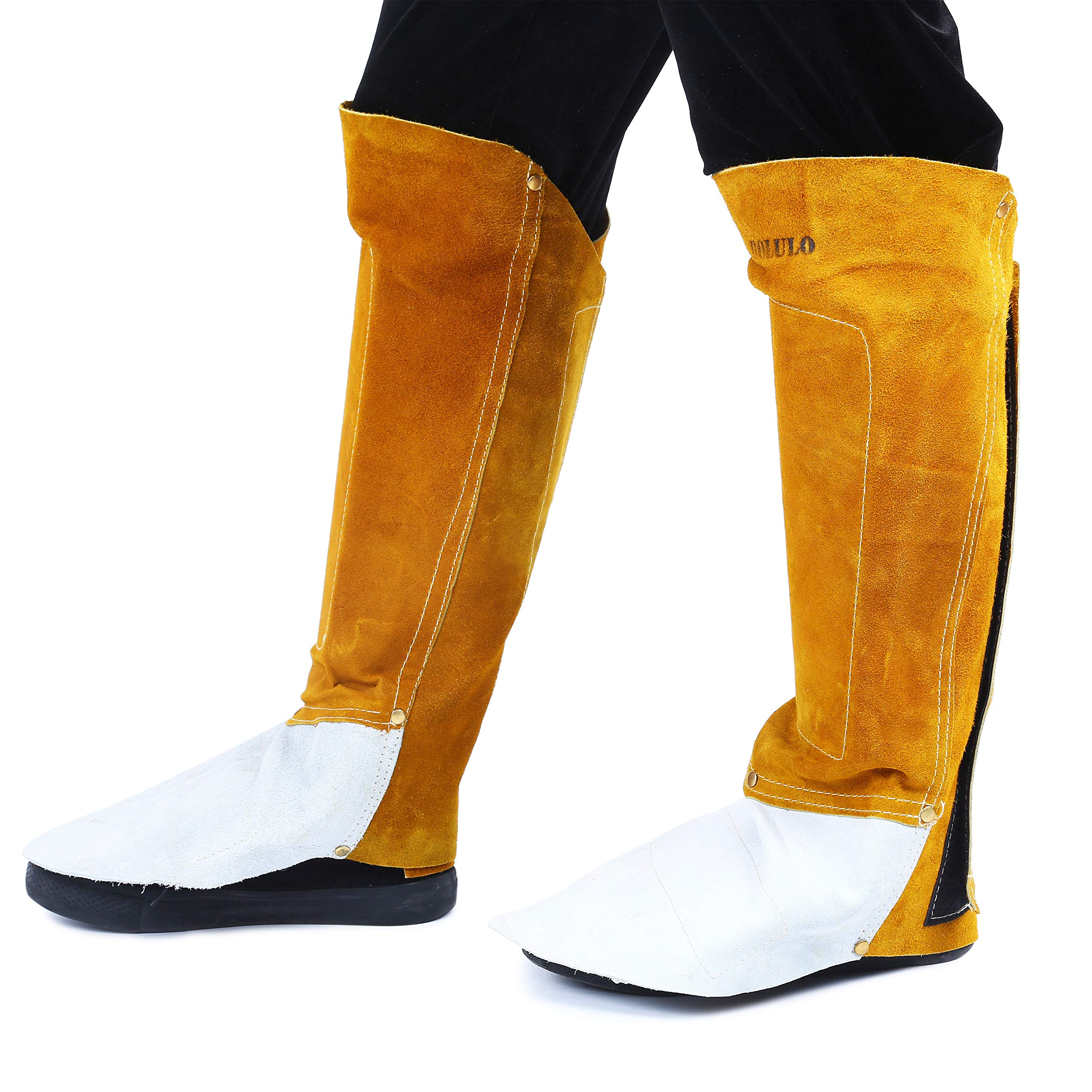 Mufy Leather Welding Spats Cover Protective Shoes Feet with Aluminum Wear Resistant,High Temperature Welding Fireproof Shoe/Boot Protectors