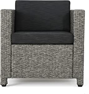 Christopher Knight Home Puerta Outdoor Wicker Club Chair with Water Resistant Cushions, Mixed Black / Dark Grey
