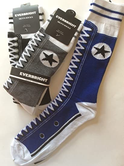 b477742356ad Amazon.com  3 Pairs Men s Novelty Sneaker Crew Socks Black Gray Navy Size  10-13   Like Converse  Everything Else