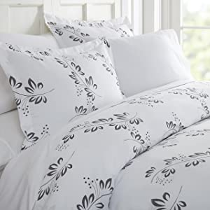 ienjoy Home 3 Piece Simple Vine Patterned Home Collection Premium Ultra Soft Duvet Cover Set, King, Gray