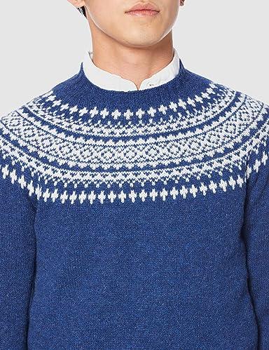 Yoke Pattern Crewneck Sweater M3170: Oceana / White