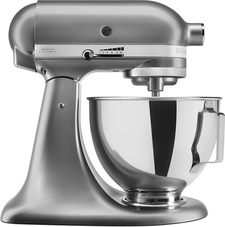 KitchenAid 5KSM95PSECU - Robot de cocina (4,3 l, protección contra salpicaduras, 300 W, agitador plano, gancho para masa y batidor), color plateado