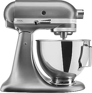 KitchenAid 5KSM95PSECU - Robot de cocina (4,3 l, protección contra salpicaduras, 300 W, agitador plano, gancho para masa y batidor), color plateado: Amazon.es: Hogar