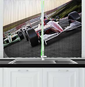 Ambesonne Man Cave Kitchen Curtains, Speeding Red Race Car Close up Front View on Track Leading The Pack Speedway Image, Window Drapes 2 Panel Set for Kitchen Cafe Decor, 55