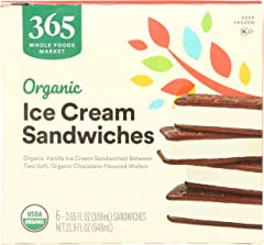 365 by Whole Foods Market, Ice Cream Sandwiches Organic 6 Count, 21.9 Fl Oz