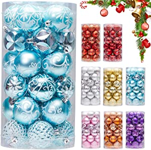 """30ct 2.36"""" Christmas Ball Ornaments, Christmas Tree Decoration, Plastic Shatterproof Hanging Ball, Fits for Party, Holiday and Home Decor, Blue"""