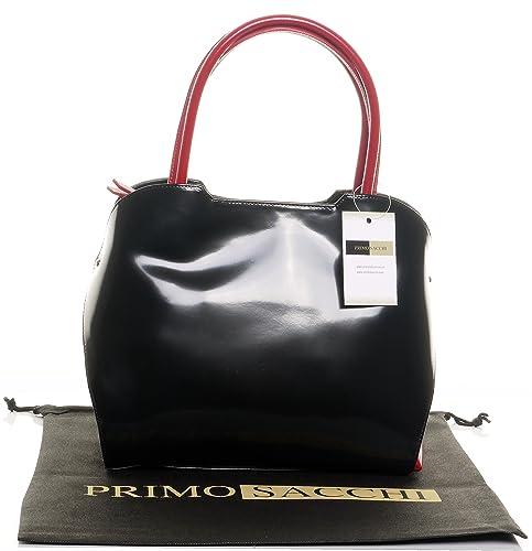 Primo Sacchi Italiano de charol negro y rojo grande Grab bolsa o bolso con correa totalmente ajustable. Incluye una bolsa protectora marca: Amazon.es: ...