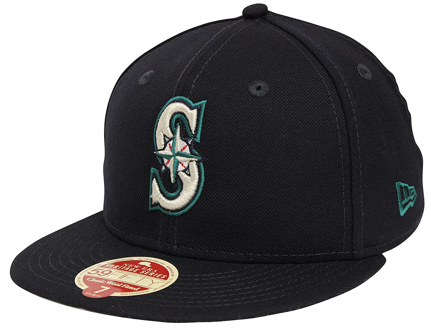 online retailer b16b1 4e2db New Era 59Fifty Wool Standard Seattle Mariners Navy Fitted Cap (7 3 4) at  Amazon Men s Clothing store