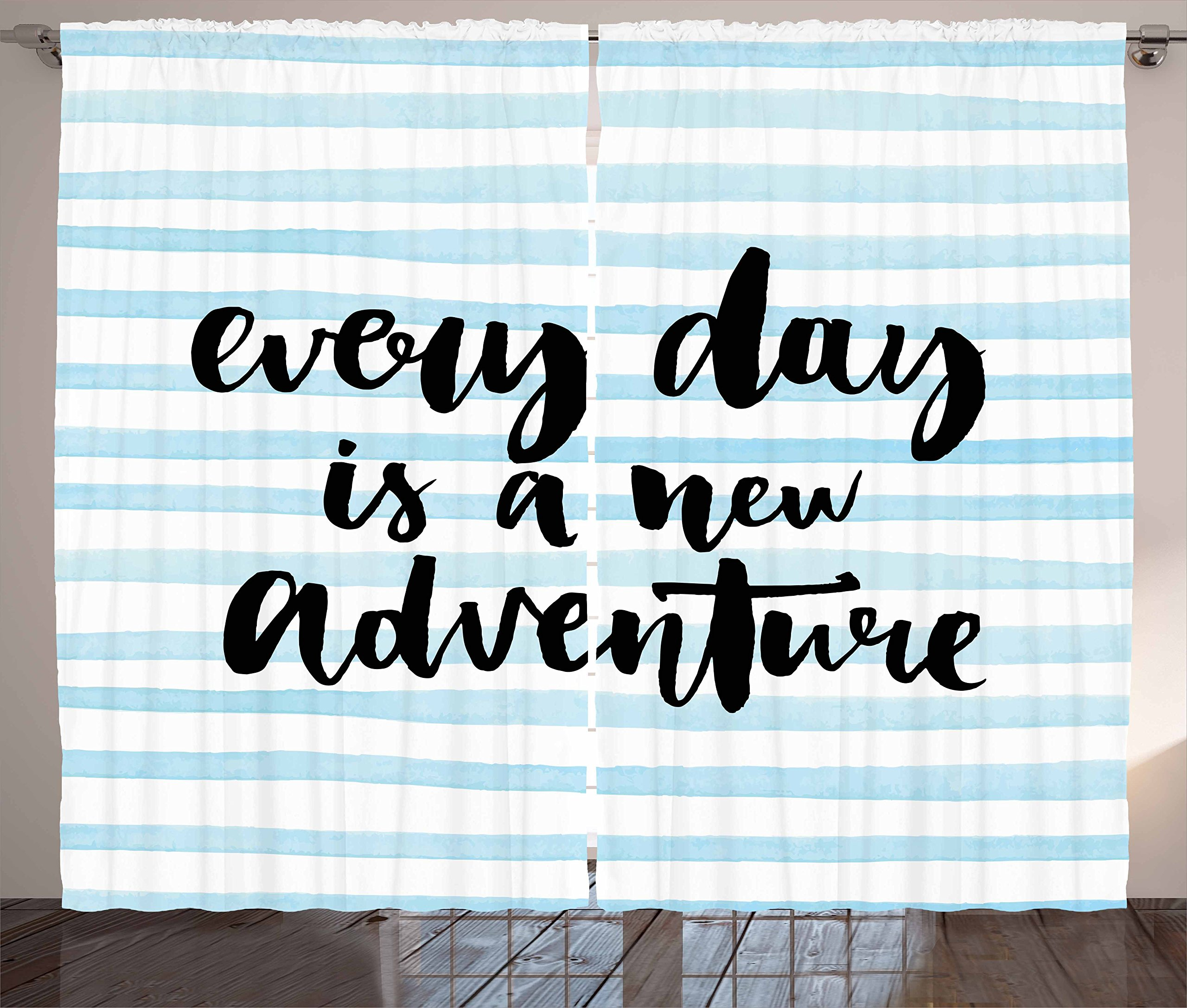 Ambesonne Adventure Curtains, Every Day is a New Adventure Quote Inspirational Things About Life Artwork, Living Room Bedroom Window Drapes 2 Panel Set, 108 W X 63 L inches, Baby Blue Black