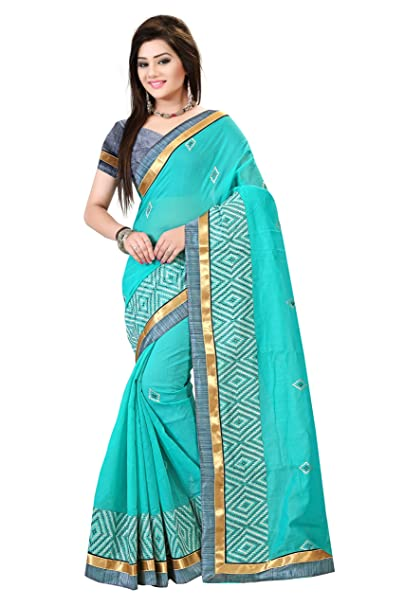 bb2f462a4941d7 Dhwani Enterprise Online Women'S Latest Designed Chanderi Cotton Saree 2018  With Blouse Piece (Sky Blue): Amazon.in: Clothing & Accessories
