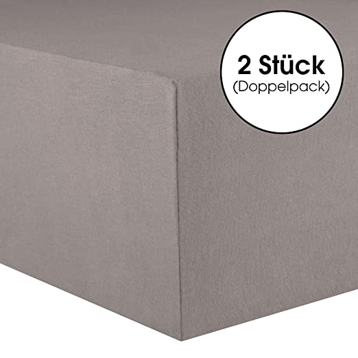 CelinaTex Lucina Sábanas Ajustables algodón 2er-Set 90x200-100x200 cm Gris Oscuro