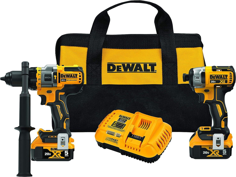 DEWALT FLEXVOLT ADVANTAGE 20V MAX Combo Kit with Hammer Drill & Impact Driver, 5.0-Ah, 2-Tool (DCK2100P2) (Renewed)