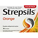Strepsils Double Antibacterial  Soothing Sore Throat Lozenges Orange (36 Pack)