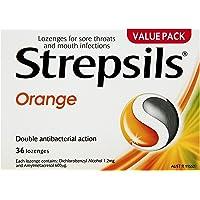 Strepsils Double Antibacterial  Soothing Sore Throat Lozenges Orange (36 Pack)