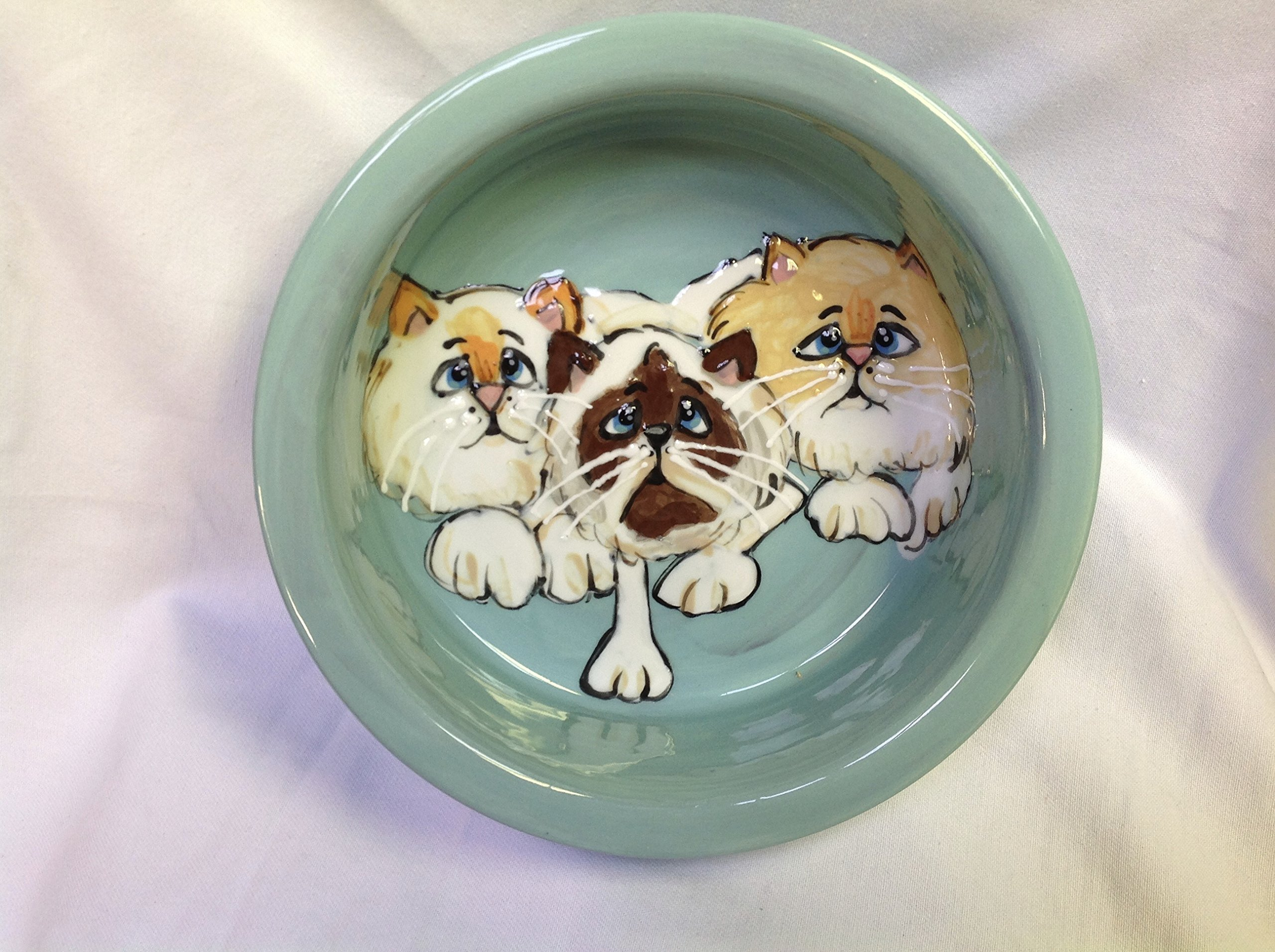 Cat 8''/6'' Pet Bowls for Food/Water. Personalized at no Charge. Signed by Artist, Debby Carman.