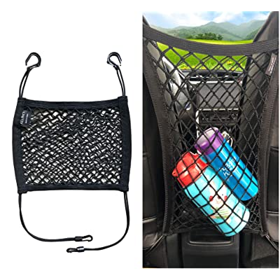 ALLNET Universal Double Layer Car Seat Organizer/Storage Mesh Cargo Net Hook Pouch Holder for Bag Luggage Phone Pets Children Kids Disturb Stopper (30 cm x 25 cm) (11.8 inch x 9.8 inch): Automotive