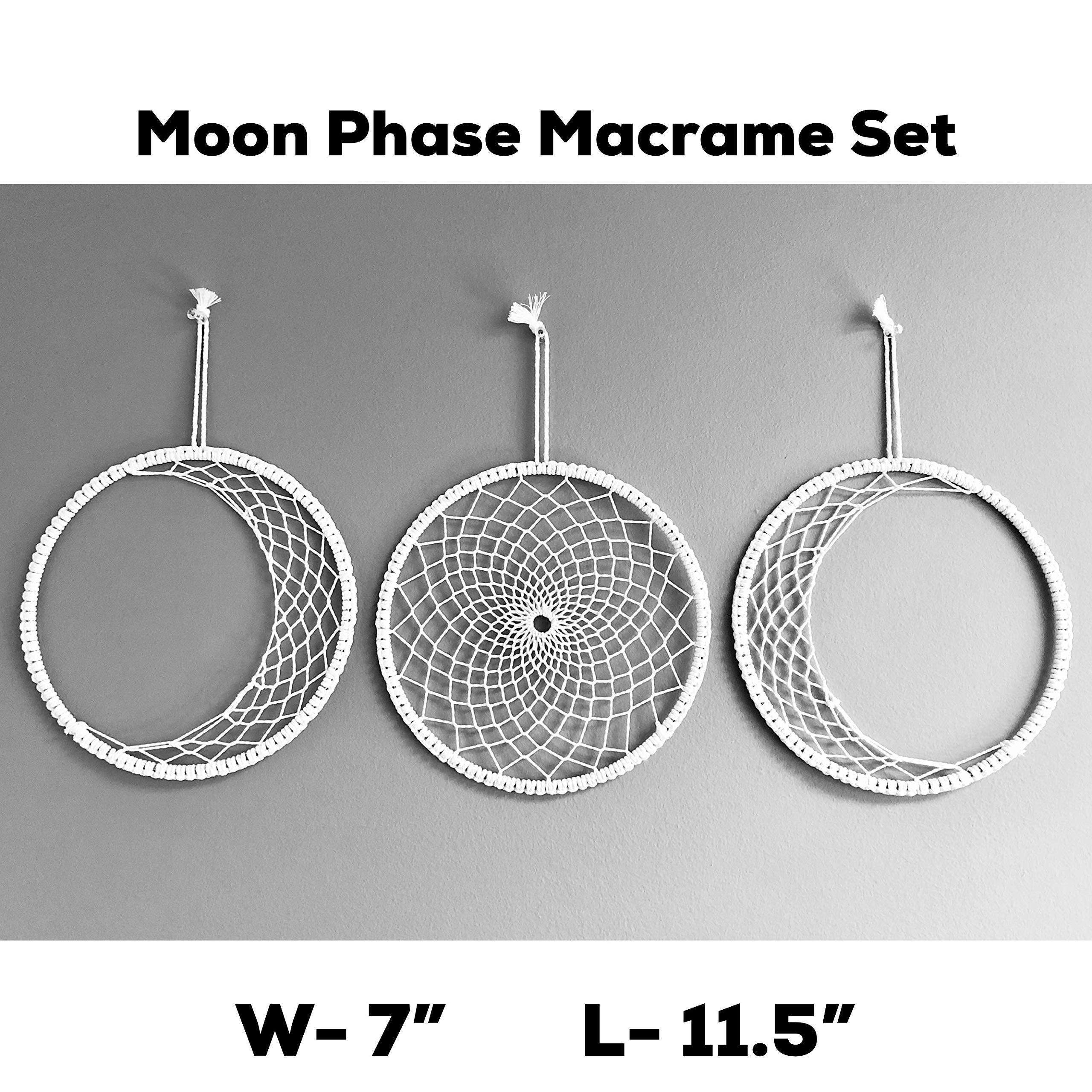 Moon Phase Macrame Wall Hanging- Boho Wall Decor - Bohemiam Hippie Chic Tapestry- Boho Wall Art for Bedroom, Home, Apartment- Geometric Woven Macrame Wall Decoration- L- 11.5'' W- 7.5''- 3 Pcs Set