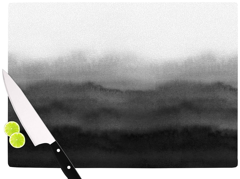 KESS InHouse DraperOmbre Ink Wash Gray Black Cutting Board Multicolor 11.5 x 15.75