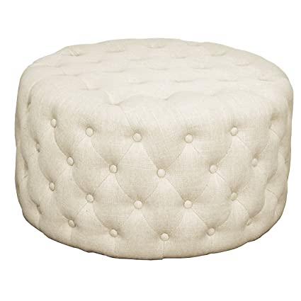 Excellent New Pacific Direct 353616 F Lulu Round Fabric Tufted Ottoman Furniture Flax Onthecornerstone Fun Painted Chair Ideas Images Onthecornerstoneorg