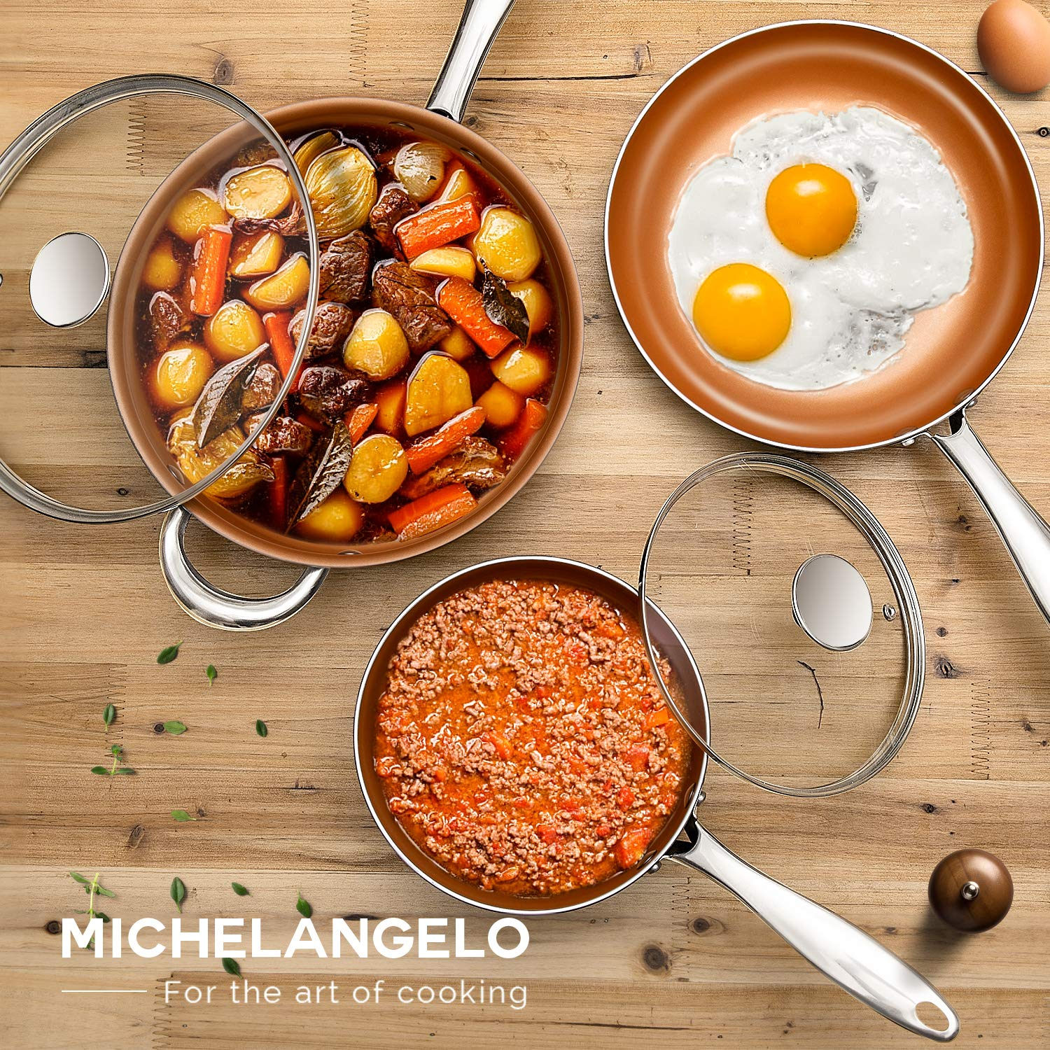 Ultra Nonstick Pots and Pans Copper with Ceramic Interior Copper Pots and Pans Ceramic Pot and Pans Set Copper Nonstick Cookware Set Copper Pots Set -5Pcs MICHELANGELO Copper Cookware Set 5 Piece