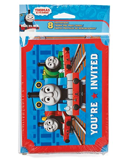 Amazon american greetings thomas and friends invite and thank american greetings thomas and friends invite and thank you combo pack 8 count m4hsunfo