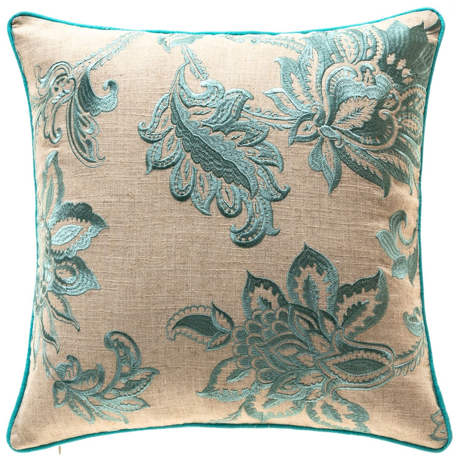 TINA'S HOME French Country Floral Decorative Throw Pillows Down Feather Insert | Embroidery Linen Couch Sofa Bed Home Kitchen Accent Pillows (20 x 20 inches, Teal)
