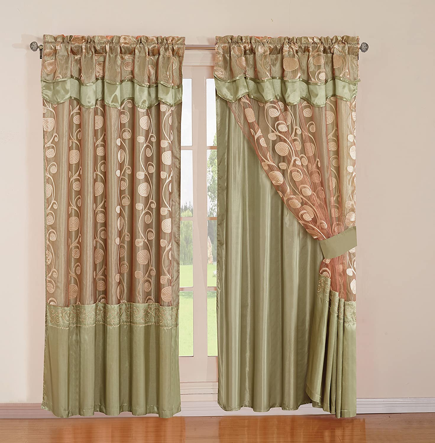 2 Pieces Embroidery Rod Pocket Window Curtains/ drape/ panels/ treatment with attached Valances, Backing and Tied Back Green