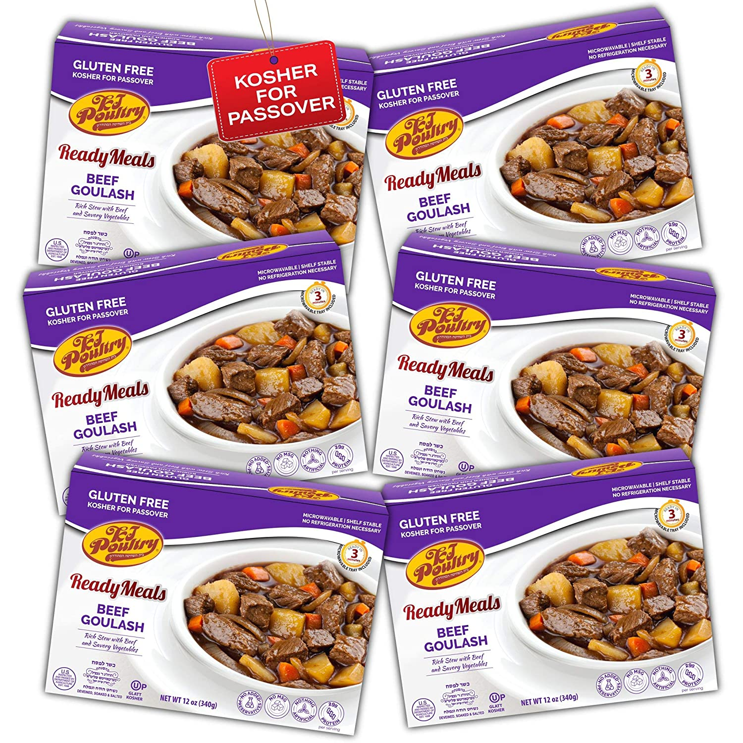 Kosher For Passover Food Beef Goulash - MRE Meat Meals Ready to Eat - Gluten Free (6 Pack) - Prepared Entree Fully Cooked, Shelf Stable Microwave Dinner