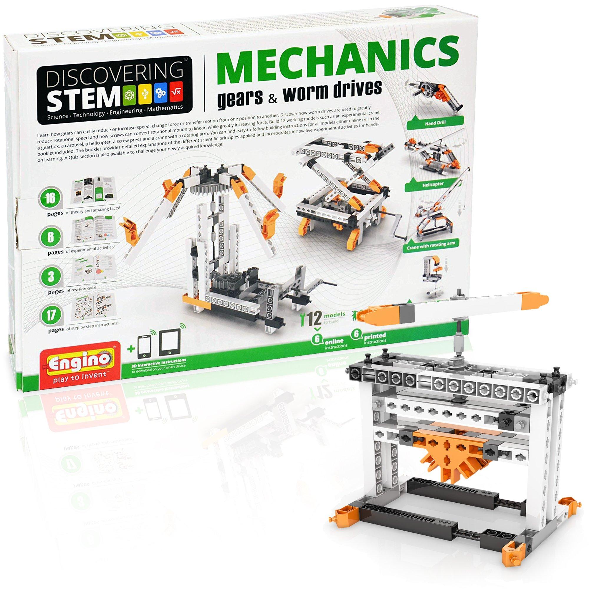 Engino Discovering STEM Mechanics Gears & Worm Drives Construction Kit