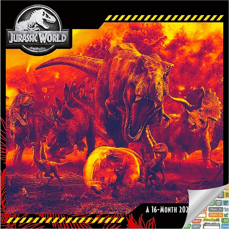 Jurassic World Calendar 2021 Bundle - Deluxe 2021 Jurassic World Wall Calendar with Over 100 Calendar Stickers (Jurassic World Gifts, Office Supplies)