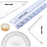 REKUSE 12'' Architectural scale, Triangular Engineer Ruler, Aluminium , Draftsman & Student + Geometry Set with Protractor + Masking Tape