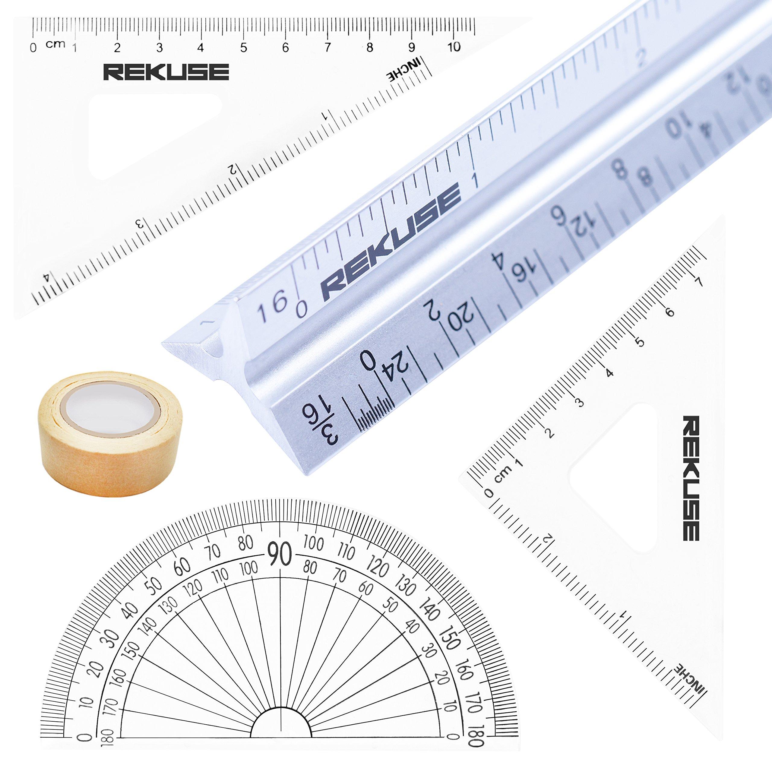 REKUSE 12'' Architectural scale, Triangular Engineer Ruler, Aluminium, Draftsman & Student + Geometry Set with Protractor + Masking Tape