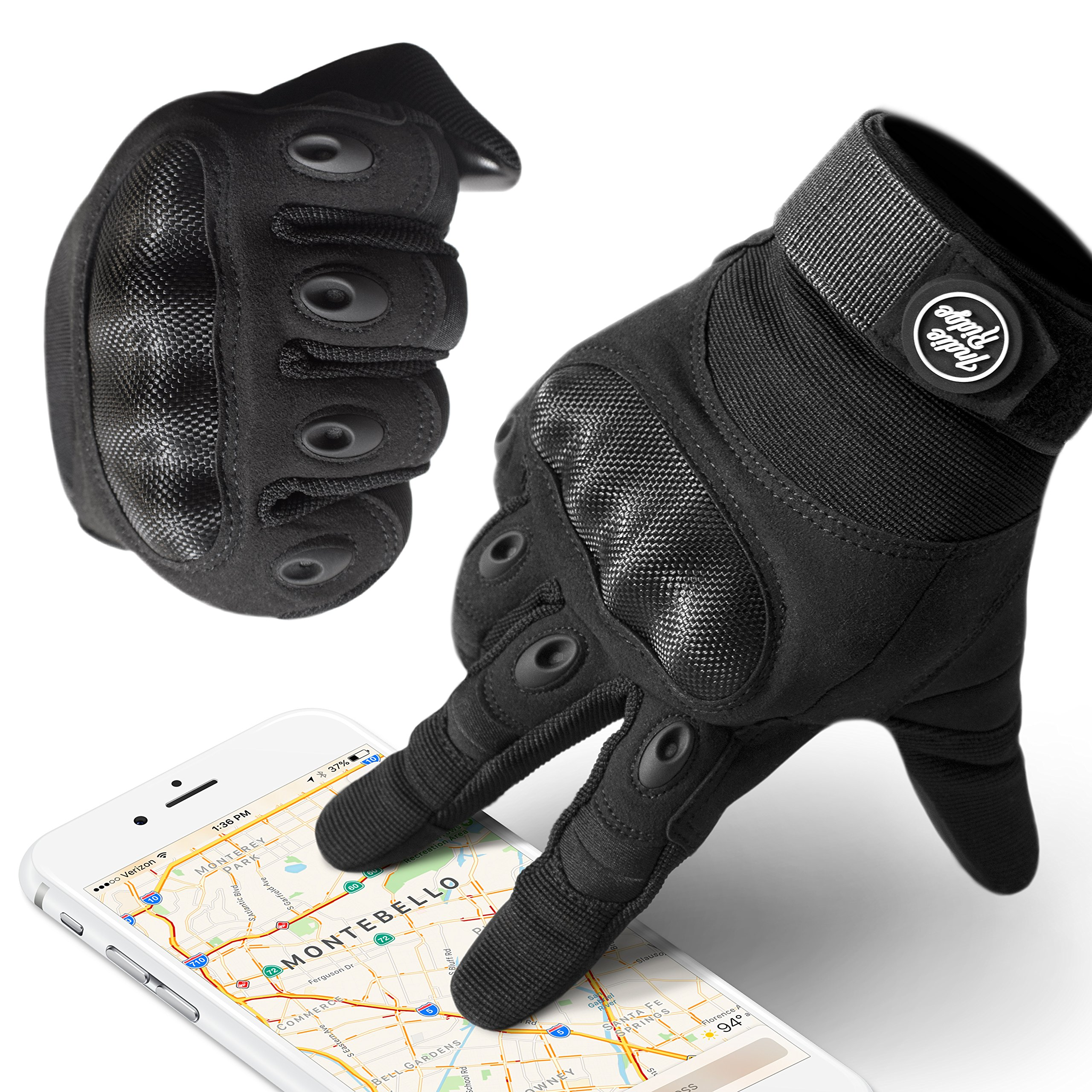 Indie Ridge Powersports Gloves, Pro-Biker Carbon Fiber Powersports Racing Gloves with Touch Screen Fingertips (Large)
