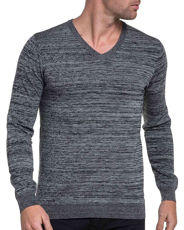 BLZ jeans - Man sweater gray marl trend V-neck