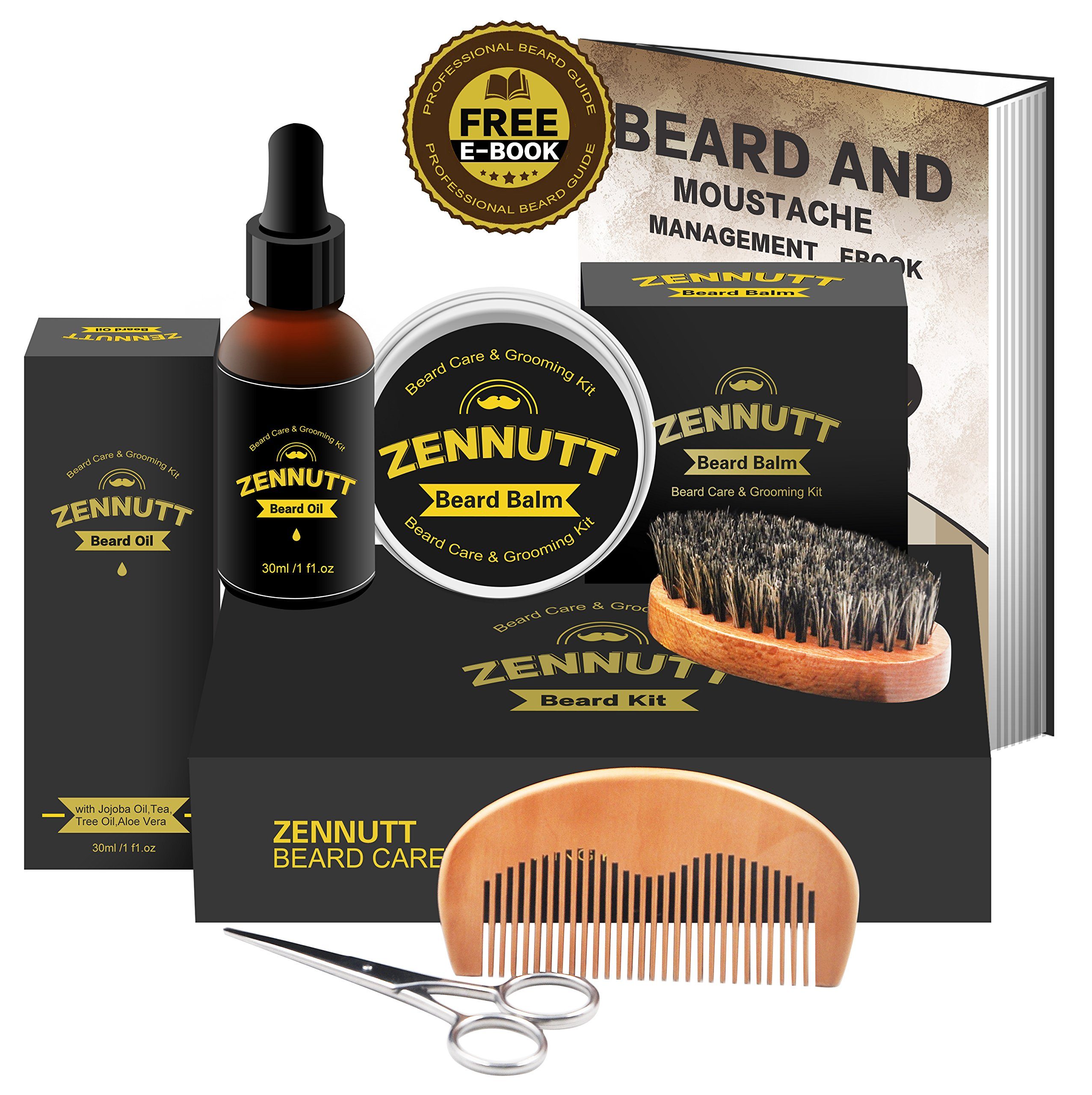 Beard Kit for Men Gifts Beard Grooming & Trimming Kit w/Unscented Beard Growth Oil + Balm + Beard Brush + Beard Comb + Beard & Mustache Scissors for Beard Trimmer Shaping Moisturizing