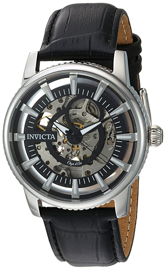 Amazon.com: Invicta Mens Objet dArt Automatic Stainless Steel and Leather Casual Watch, Color:Black (Model: 22641): Invicta: Watches