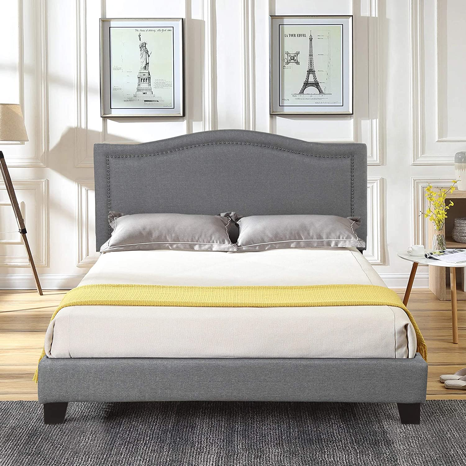 FLIEKS Upholstered Platform Bed Frame Mattress Foundation with Wooden Slat Support and Diamond Button Tufted Headboard Grey, Queen