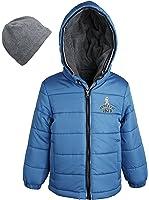 London Fog Little Boys Warm Puffer Jacket with Fleece Lined Hood And Hat