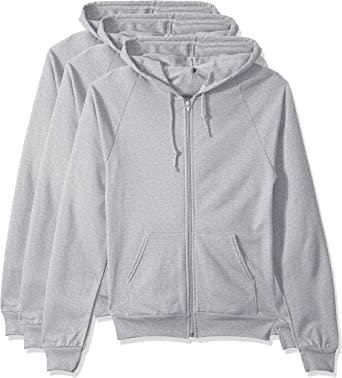 Marky G Apparel Mens Flex Fleece Full-Zip Hooded Sweatshirt Jacket Dark Heather Gr 3 Pack 3 Packs XL