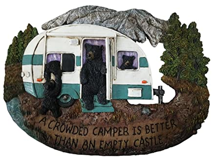 Bear Decor Family Wall Plaque – Black Bear Wall Decorations Home Gifts for Family – Welcome Home Sign Wall Art Plaque Black Bear Decor – A Crowded Camper is Better Than an Empty Castle, 11.75 x8.75