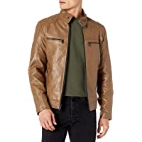 DKNY Men's Faux Leather Quilted Moto Racer Jacket