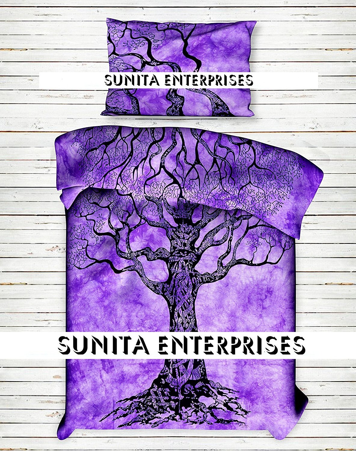 SUNITA ENTERPRISES Present World Famous Purple Tree Of Life Indian Mandala - Ombre Duvet - Doona - Blanket Cover , Bohemian Tapestry Duvet Cover , INDIAN Cotton Quilt Cover Urban , Blanket Cover Throw Twin Size ( 85x55 ) With 2 Pillow Cover By SUNITA ENTER