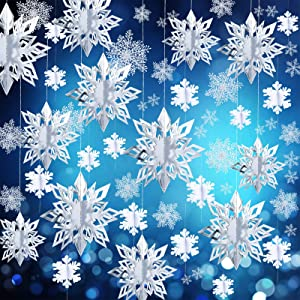 42 Pieces Winter Christmas Party Decorations 3D Snowflake Hanging Decoration Set 3D Hanging Snowflake Decoration Pendant for Christmas Winter Party New Year Home Decoration