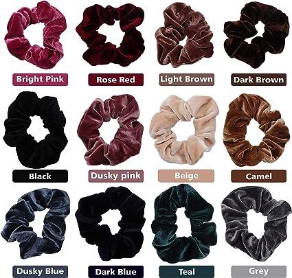 12 piezas Diademas - Colorful Velvet Hair Scrunchies - Bandas de Bobble de cabello grueso - Banda elástica de