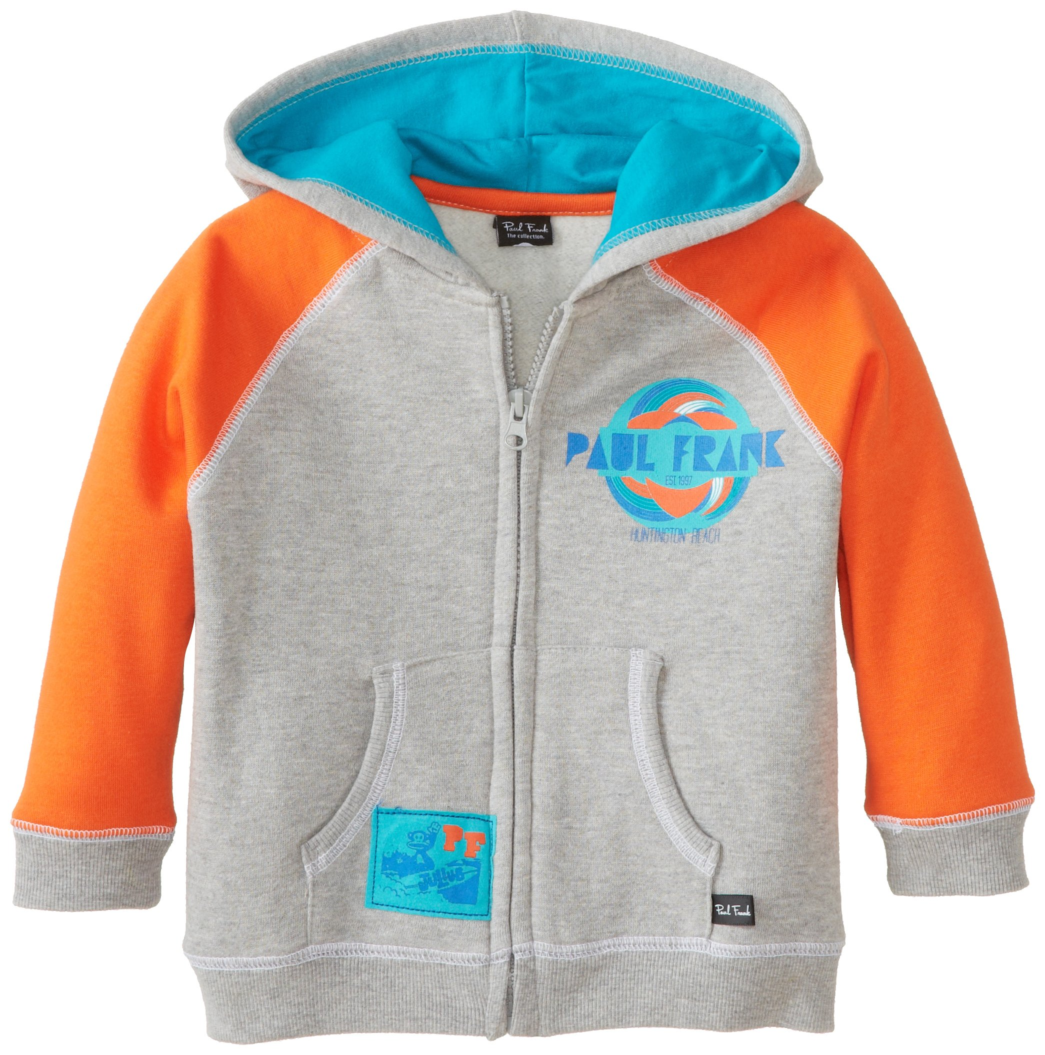 Paul Frank Little Boys' Toddler Surf Hoodie, Grey Heather, 3T