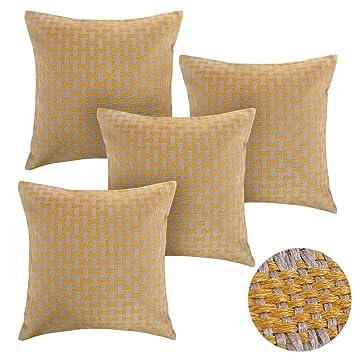Deconovo Lot 4 Housses de Coussins Effet Lin Decoration pour ...