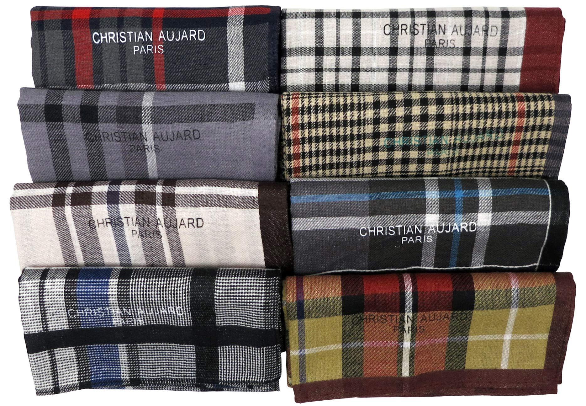 Leevo Handkerchief Men Assorted Woven Cotton 100% Hankies Fashion 8pack Bulk Value Pack (17.5inch 8pack bulk - 4th ver.)
