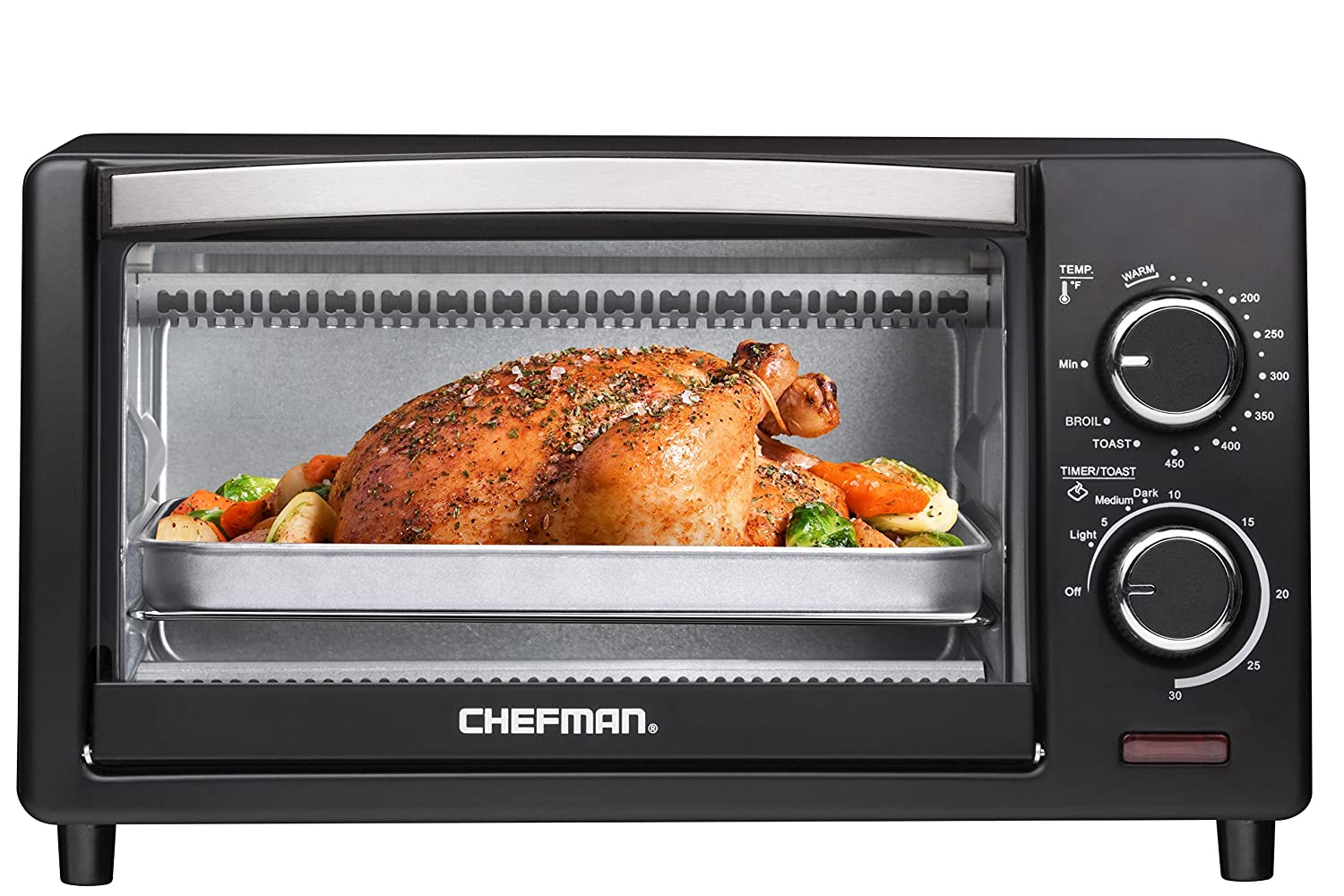 Chefman 4 Slice Countertop Toaster Oven w Variable Temperature Control and 30 Minute Timer Cooking Functions to Bake, Broil, Toast and Keep Warm Black