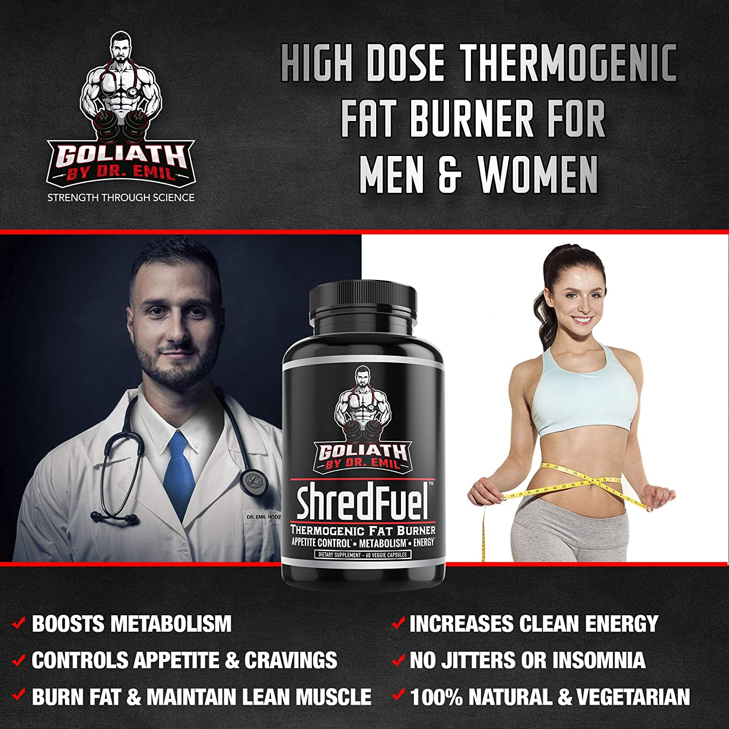 Dr. Emil - Thermogenic Fat Burner for Men and Women - High Dose Weight Loss Pills, Metabolism Booster and Appetite Suppressant (60 Vegan Diet Pills)