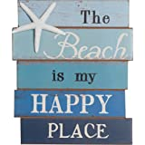 NIKKY HOME The Beach Is My Happy Place Rustic Wooden Wall Decorative Sign 8.5 x 12 Inches